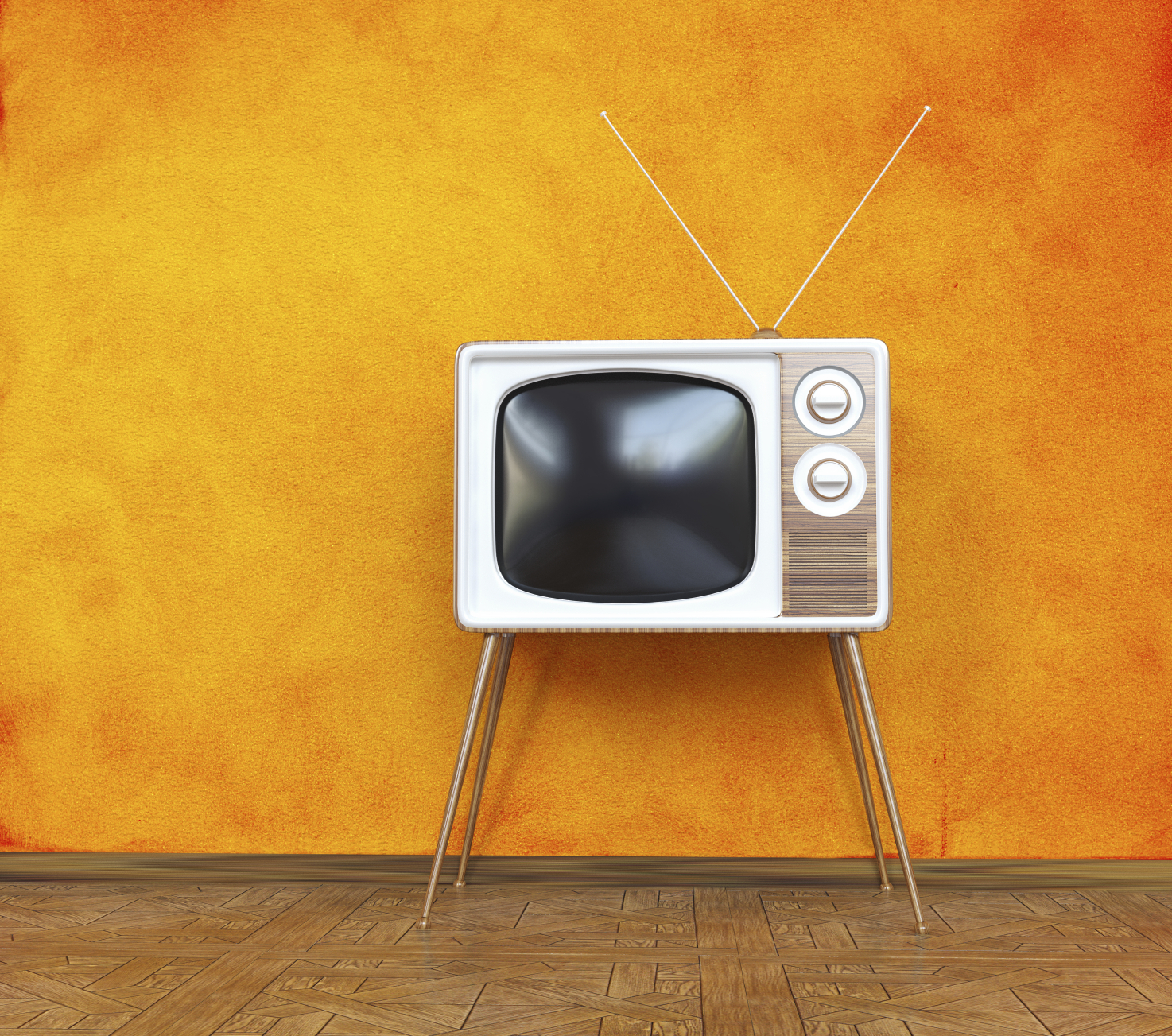vintage television over orange background. 3d concept